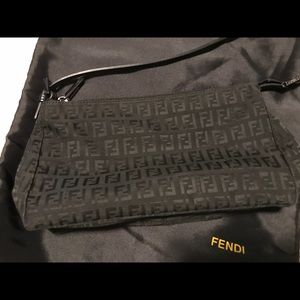 Fendi Black Zucca Canvas & Leather Shoulder Bag